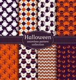 De naadloze patronen van Halloween Beeldverhaal polair met harten Stock Fotografie