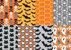 De naadloze patronen van Halloween, vector Stock Afbeelding