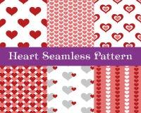 De naadloze patronen van het hart Roze en rode kleur Eindeloze het betegelen textuur voor druk op stof en document of schroot het Stock Afbeeldingen