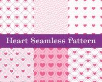 De naadloze patronen van het hart Roze kleur Eindeloze het betegelen textuur voor druk op stof en document of schroot het boeken  Stock Afbeeldingen