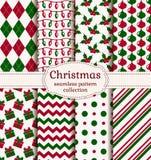De naadloze patronen van Kerstmis Beeldverhaal polair met harten Stock Foto