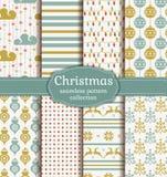 De naadloze patronen van Kerstmis Beeldverhaal polair met harten Royalty-vrije Stock Afbeelding