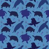 De naadloze Patroonachtergrond van het Reptiel van de Schildpadschildpad zwemt vector illustratie