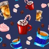 De naadloze patroonillustratie met de winter drinkt hete cacao met heemstthee met citroen en kaneel stock afbeelding