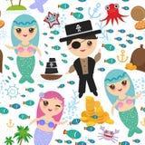 De naadloze patroonmeermin met piraat, boot met zeil, het gouden eiland van de de octopuszeester van de muntstukkenkrab met palme stock illustratie