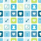 De naadloze de Pictogrammenjongen van de Patroonbaby regelt Blauw en Groen stock illustratie