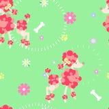 De naadloze poedelhond herhaalt patroon met been, voetdruk en bloem vector illustratie