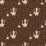 De naadloze pot van de patroon uitstekende koffie en koffiekop Royalty-vrije Stock Fotografie