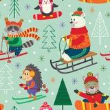 De naadloze pret van de patroonwinter met dieren op slee, ski, snowboard royalty-vrije illustratie
