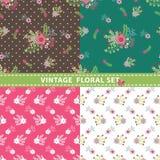 De naadloze Reeks van het Patroon Bloemen, takken, bessen in retro stijl Stock Afbeeldingen