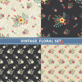De naadloze Reeks van het Patroon Bloemen, takken, bessen in retro stijl Royalty-vrije Stock Afbeelding