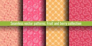 De naadloze Reeks van het Patroon Sappige fruit en besseninzameling Kers, granaatappel, sinaasappel, watermeloen Hand getrokken k royalty-vrije illustratie