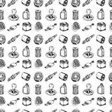De naadloze reeks van de patroonhand getrokken vectorillustratie autodelen ondertekent en elementen van symboolkrabbels Geïsoleer royalty-vrije illustratie