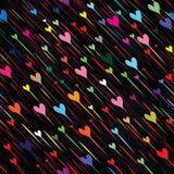 De naadloze regen van de hartliefde Stock Afbeelding