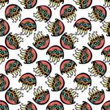 De naadloze retro achtergrond van het het patroonbehang van kwallenjonge geitjes in vector Stock Foto's