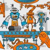 De naadloze robots van het patroonbeeldverhaal bij de assemblage Royalty-vrije Stock Afbeelding