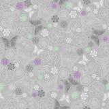 De Naadloze rozen en de Vlinders herhalen Patroon Royalty-vrije Stock Afbeeldingen