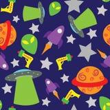 De naadloze ruimte themed achtergrond Stock Afbeeldingen