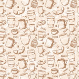De naadloze schetsmatige koffie vormt patroon tot een kom Royalty-vrije Stock Foto's