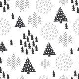 De naadloze Skandinavische achtergrond van de Kerstmisboom van de stijl eenvoudige illustratie Royalty-vrije Stock Afbeelding