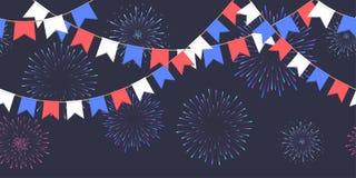 De naadloze slinger met vieringsvlaggen ketent, witte, blauwe, rode pennons en begroeting op donker vuurwerk als achtergrond, foo vector illustratie
