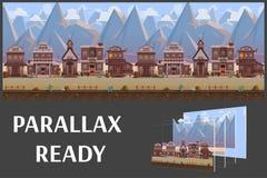 De naadloze stad van het beeldverhaal wilde westen, westelijk landschap, vector oneindige achtergrond met gescheiden lagen vector illustratie