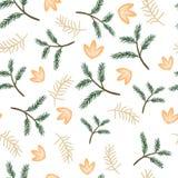 De de naadloze takjes en bloemen van de patroonpijnboom royalty-vrije stock fotografie