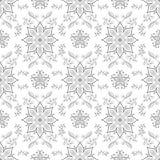 De naadloze textuur met symmetrische zwart-witte bloemen ornamen Royalty-vrije Stock Foto's