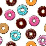 De naadloze textuur van de doughnut. Stock Afbeelding