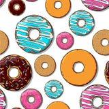 De naadloze textuur van de doughnut. Stock Foto