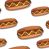 De naadloze textuur van de hotdog. Stock Foto