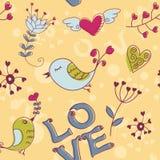 De naadloze textuur van de liefde met bloemen en vogels Royalty-vrije Stock Foto's