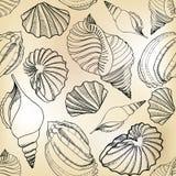 De naadloze textuur van het zeeschelpzand. Getrokken hand de modieuze zomer  Stock Afbeelding
