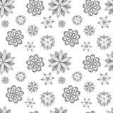 De naadloze textuur van samenvatting silhouetteert symmetrische bloemen Royalty-vrije Stock Afbeeldingen