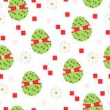 De naadloze tileable vector met paaseieren en madeliefje bloeit in groene en rode kleuren stock illustratie