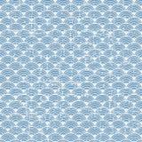 De naadloze uitstekende blauwe Japanse achtergrond van het de schaalpatroon van stijlvissen Royalty-vrije Illustratie