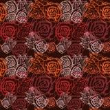 De naadloze uitstekende bloem nam patroon toe. Stock Foto's