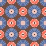 De naadloze van de backgroundisco van het patroon retro vinyl muzikale verslag audioillustratie van de het spoor grungy vectormuz Royalty-vrije Stock Afbeeldingen