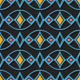 De naadloze van het de decoratie retro patroon van het hulpbeeldhouwwerk blauwe kromme ov royalty-vrije illustratie