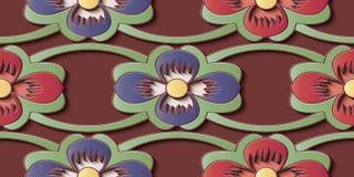 De naadloze van het de decoratie retro patroon van het hulpbeeldhouwwerk kromme dwarsf stock illustratie
