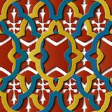 De naadloze van het de decoratie retro patroon van het hulpbeeldhouwwerk kromme dwarsf vector illustratie