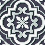 De naadloze van het de decoratie retro patroon van het hulpbeeldhouwwerk kromme dwarsk vector illustratie