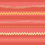 De naadloze vector abstracte horizontale lijnen van het krabbelpatroon, zigzag, punten, strepen Rode roze gele stammenachtergrond vector illustratie