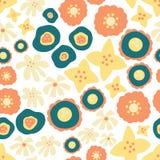 De naadloze vector herhaalt verspreid bloemenpatroon Hand getrokken bloemen gele wintertaling als achtergrond, sinaasappel Skandi royalty-vrije illustratie