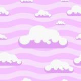De naadloze vector roze achtergrond van het wolkenpatroon Royalty-vrije Stock Fotografie