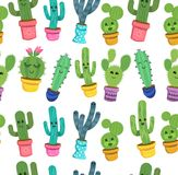 De naadloze Vector van het cactuspatroon Stock Foto