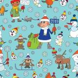De naadloze vector van Kerstmis Sneeuwmannen Kleine vogels Jaar van het varken royalty-vrije illustratie