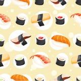 De naadloze verschillende sushi van het Patroon wihh royalty-vrije illustratie