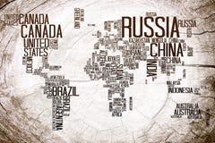 De naam van de Landen van de wereldkaart op Timmerhout stock illustratie