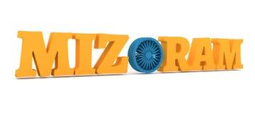 De naam van de Mizoramstaat met vlagkleuren gestileerde brief O Royalty-vrije Stock Afbeeldingen